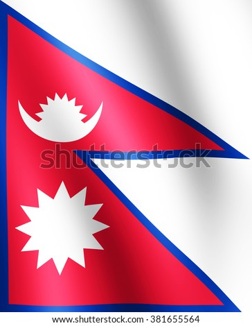 Flag of Nepal waving in the wind giving an undulating texture of folds in the fabric. The Image is in the official ratio of the flag - 0.820. - stock photo