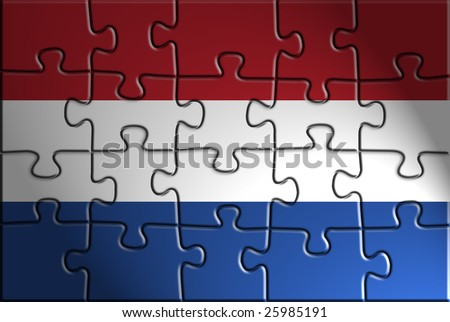 Flag of Netherlands, national country symbol illustration