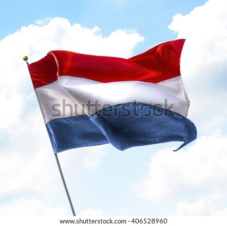 Flag of Netherlands Raised Up in The Sky - stock photo