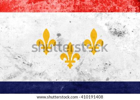 Flag of New Orleans, Louisiana, with a vintage and old look - stock photo