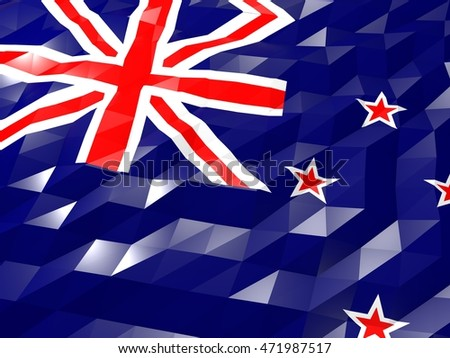 Flag of New Zealand 3D Wallpaper Illustration, National Symbol, Low Polygonal Glossy Origami Style