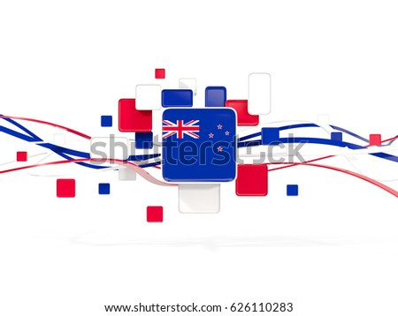Flag of new zealand, mosaic background with lines. 3D illustration