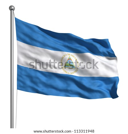 Flag of Nicaragua. Rendered with fabric texture (visible at 100%). Clipping path included. - stock photo