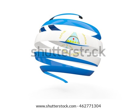 Flag of nicaragua, round icon isolated on white. 3D illustration