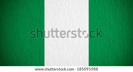 flag of Nigeria or Nigerian banner on paper background