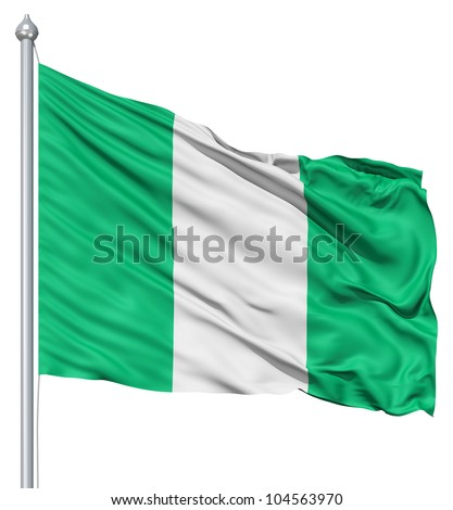 Flag of Nigeria with flagpole waving in the wind against white background