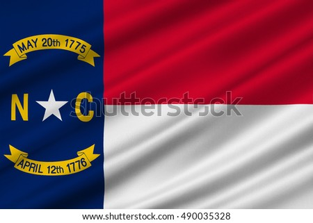 Flag of North Carolina is a state in the southeastern region of the United States. 3D illustration