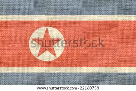 flag of north corea canvas - stock photo