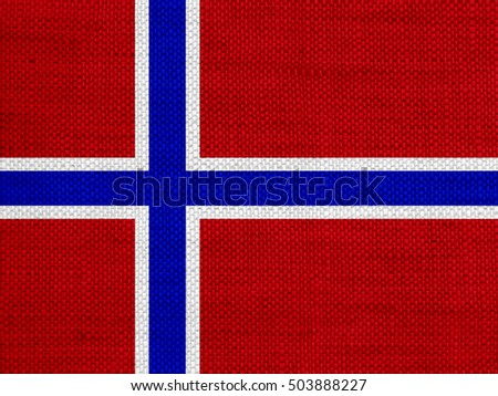 Flag of Norway on old linen