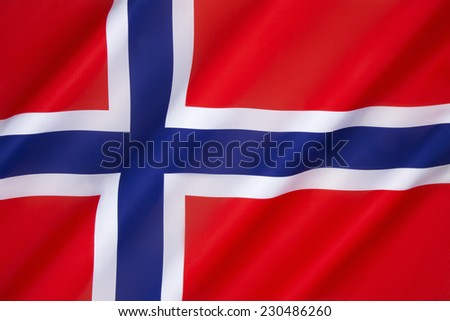 Flag of Norway - The flag of Norway is a blue Scandinavian cross over the Dannebrog, the flag of Denmark. Adopted as the national flag of Norway on 13th July 1821. - stock photo