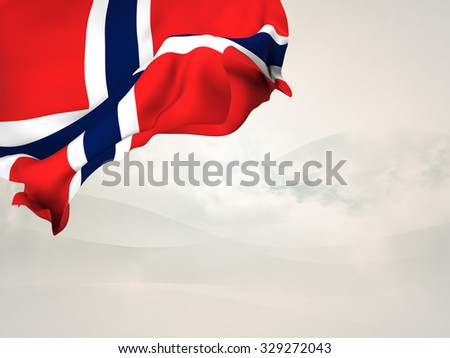Flag of Norway waving over corner page with a withe background