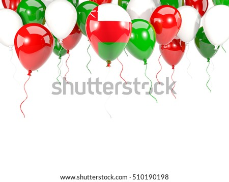 Flag of oman, with balloons frame isolated on white. 3D illustration