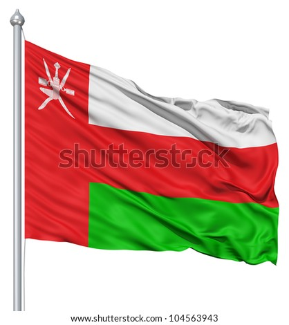Flag of Oman with flagpole waving in the wind against white background