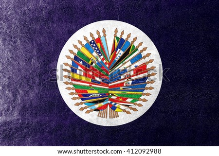 Flag of  Organization of American States, painted on leather texture - stock photo
