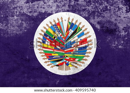 Flag of  Organization of American States with a vintage and old look - stock photo