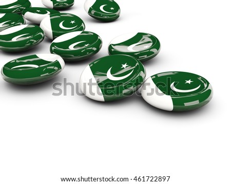 Flag of pakistan, round buttons on white. 3D illustration