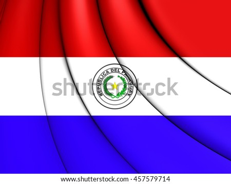 Flag of Paraguay. 3D Illustration.    - stock photo