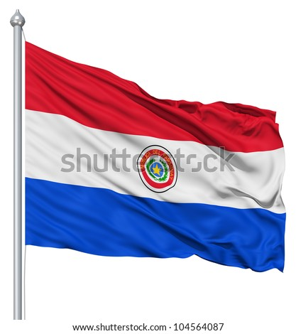 Flag of Paraguay with flagpole waving in the wind against white background