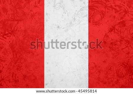 Flag of Peru, national country symbol illustration rough grunge texture - stock photo