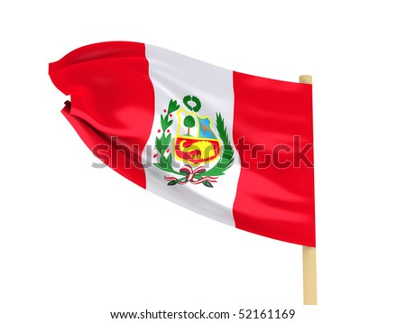 Flag of Peru on pole isolated on white background. High quality 3d render.