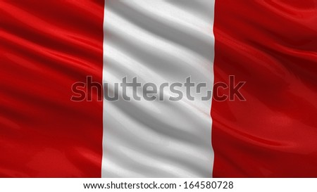 Flag of Peru waving in the wind - stock photo