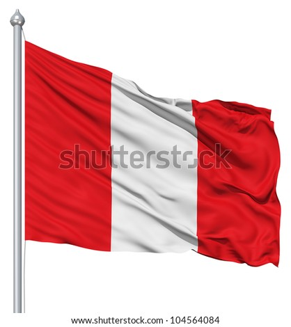 Flag of Peru with flagpole waving in the wind against white background