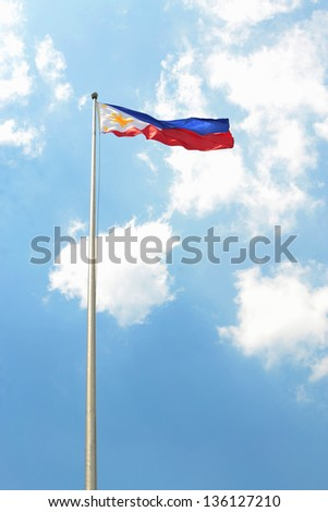 flag of Philippines at luneta, rizal park waving against blue sky background.