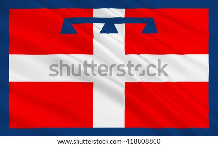 Flag of Piedmont is one of the 20 regions of Italy - stock photo