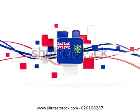Flag of pitcairn islands, mosaic background with lines. 3D illustration