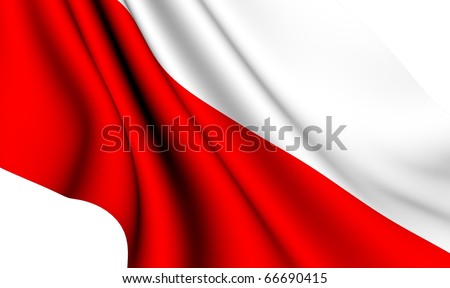 Flag of Poland against white background. Close up. - stock photo