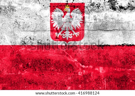 Flag of Poland with Coat of Arms, painted on dirty wall. Vintage and old look. - stock photo