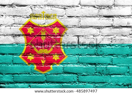 Flag of Poltava, Ukraine, painted on brick wall
