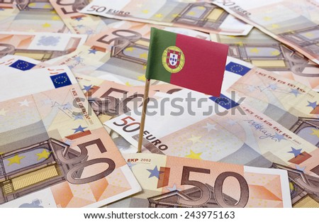 Flag of Portugal sticking in european banknotes.(series)