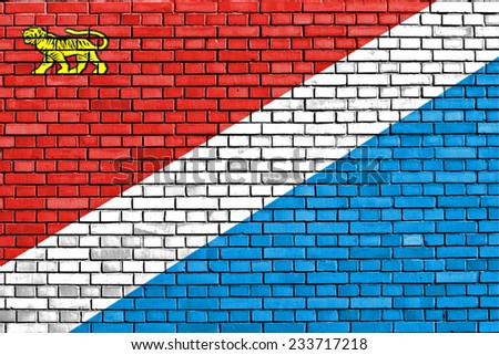 flag of Primorsky Krai painted on brick wall - stock photo