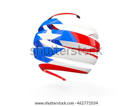 Flag of puerto rico, round icon isolated on white. 3D illustration