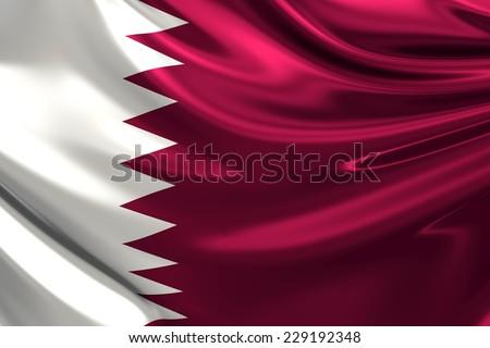 Flag of Qatar. - stock photo