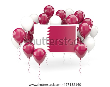 Flag of qatar, with balloons isolated on white. 3D illustration