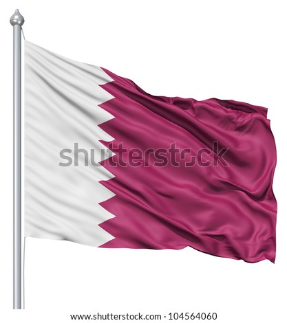 Flag of Qatar with flagpole waving in the wind against white background - stock photo