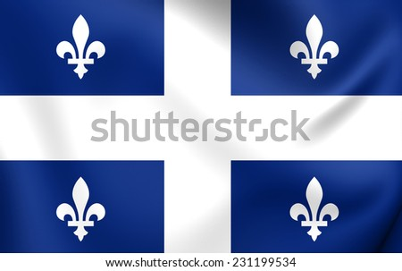 Flag of Quebec Province. Close Up. - stock photo