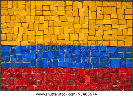 Flag of Republic of Colombia, old mosaic. - stock photo