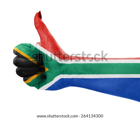 Flag of Republic of South Africa on female's hand - stock photo