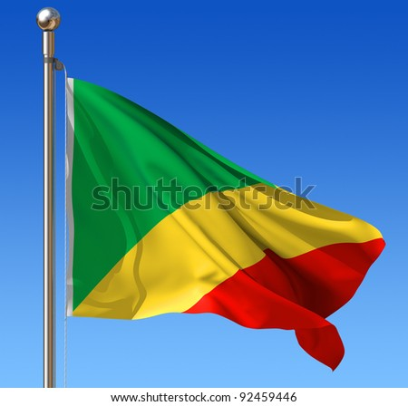 Flag of Republic of the Congo waving in the wind against blue sky. Three dimensional rendering illustration.