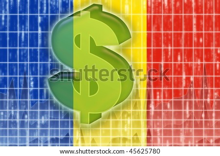 Flag of Romania, national country symbol illustration finance economy dollar - stock photo