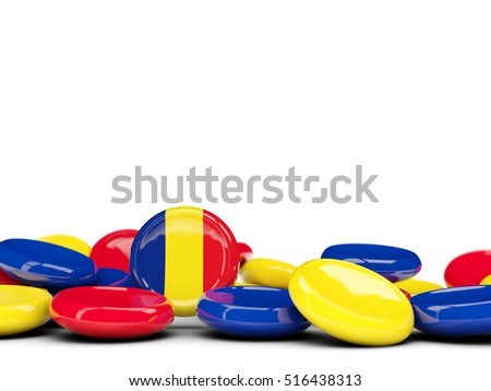 Flag of romania, round buttons isolated on white. 3D illustration