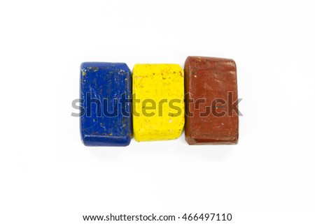 Flag of Romania with wax crayon