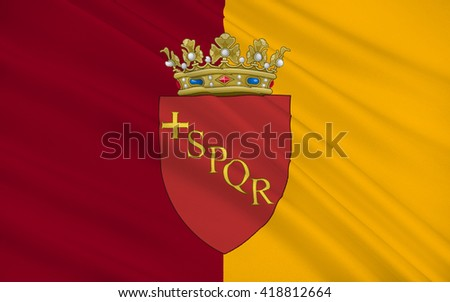 Flag of Rome is the capital city of Italy and of the Lazio region - stock photo