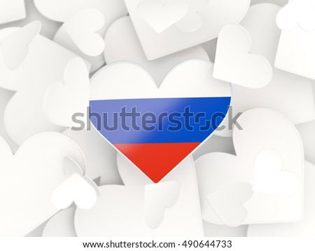 Flag of russia, heart shaped stickers background. 3D illustration