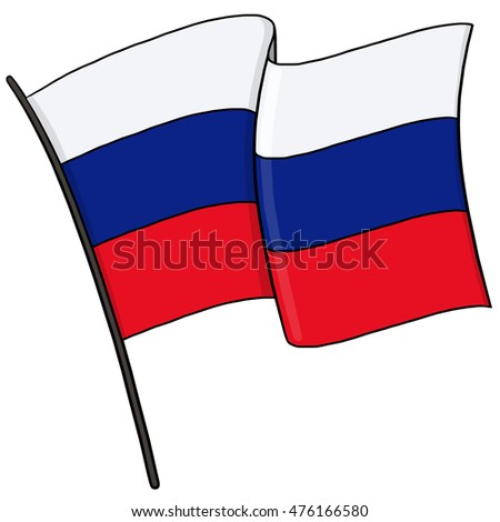 Flag of Russia on a flagpole illustration