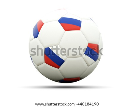 Flag of russia on football, isolated on white. 3D illustration - stock photo