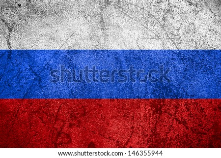 flag of Russia or Russian banner on rough metal background - stock photo